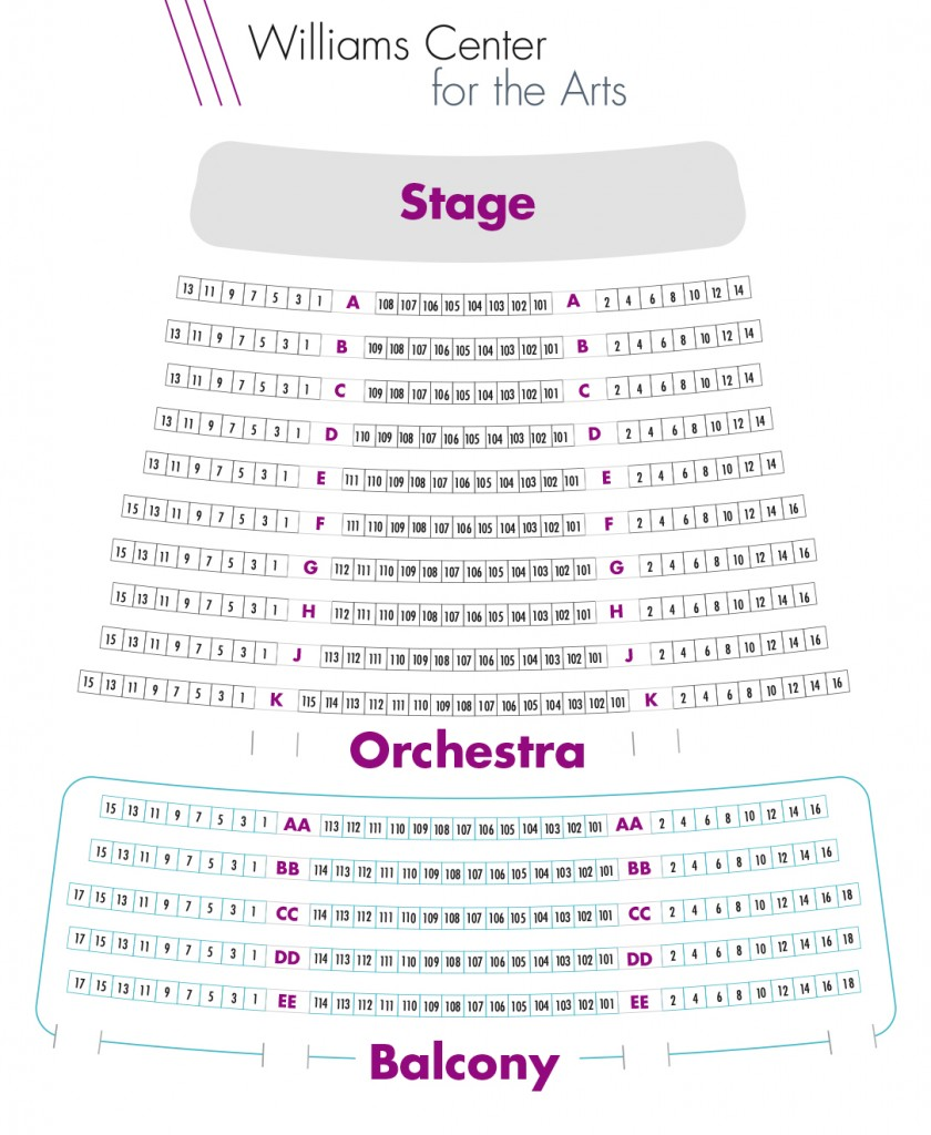Seating map for the Williams Center for the Arts, orchestra and balcony