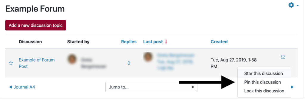 """Pin a discussion in a forum with the """"..."""" button"""