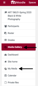 My Media and Media Gallery in Moodle