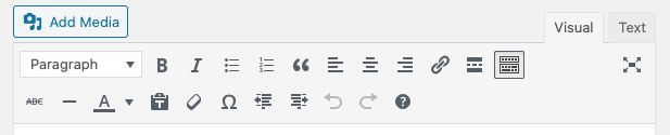 Expanded toolbar in WordPress