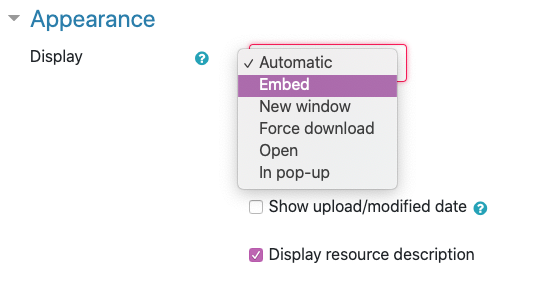 """Set the Display setting to """"Embed"""""""