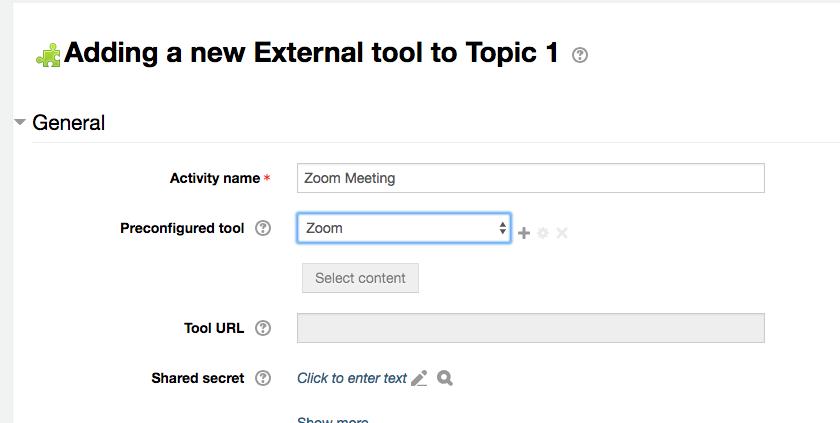 Zoom external tool set-up