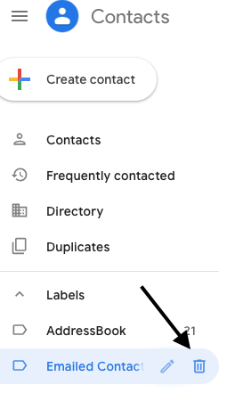 """Delete """"Emailed Contacts"""" by clicking the trash can icon."""