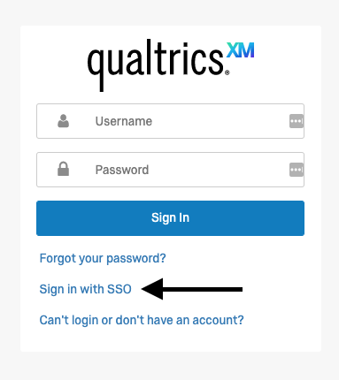 Qualtrics Support log in screen