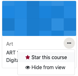 Option to Star or Hide a course from the course overview block.