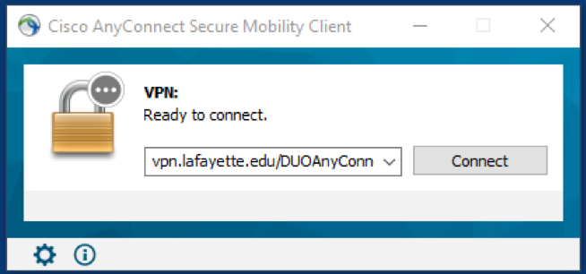 AnyConnect client box for connecting to VPN.