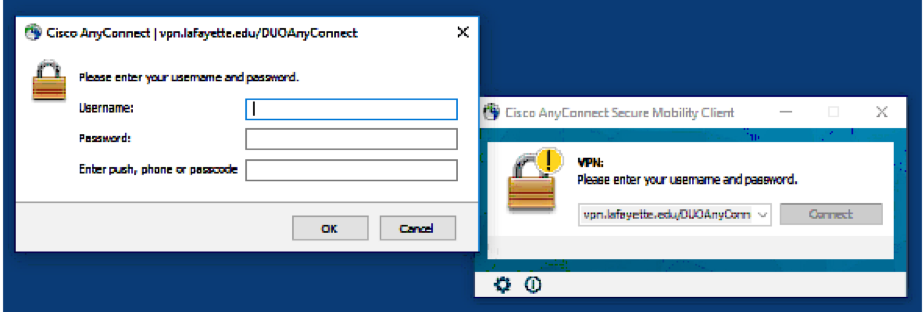 AnyConnect client window requesting username, password, and two-step login.