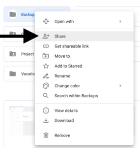 Right-click a file/folder to share with others