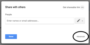 See who has access to My Drive content with the Advanced button in Share with others