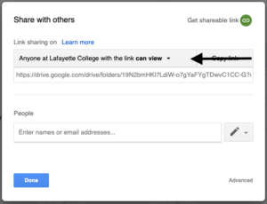 Accessing My Drive link sharing options