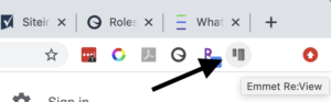 Re:view plugin button located in the menu bar in Chrome browser