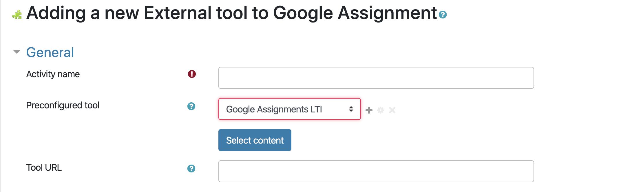 Adding Google Assignment