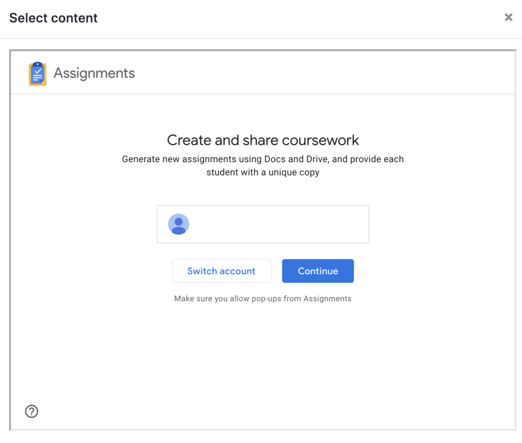 Google Assignment log in