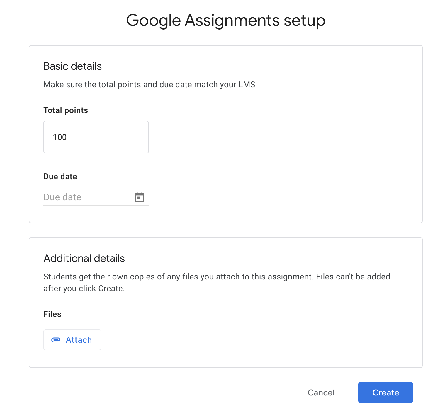 Google Assignment set up