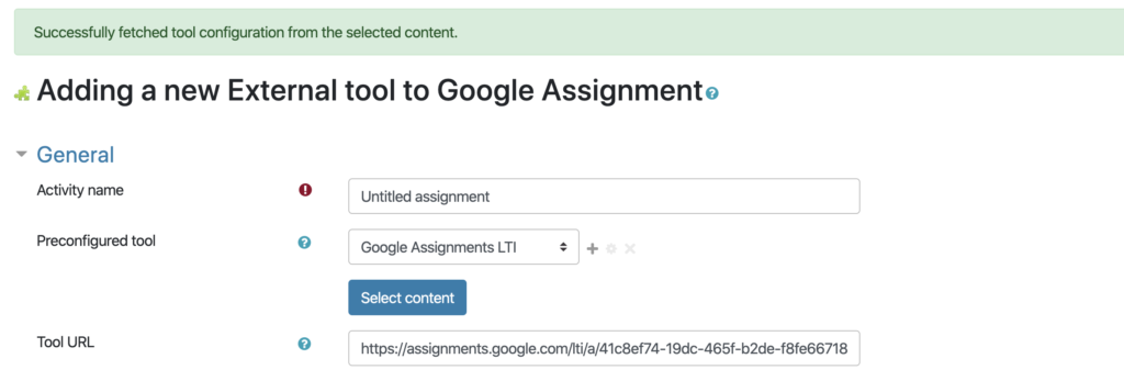 Google Assignment LTI with URL