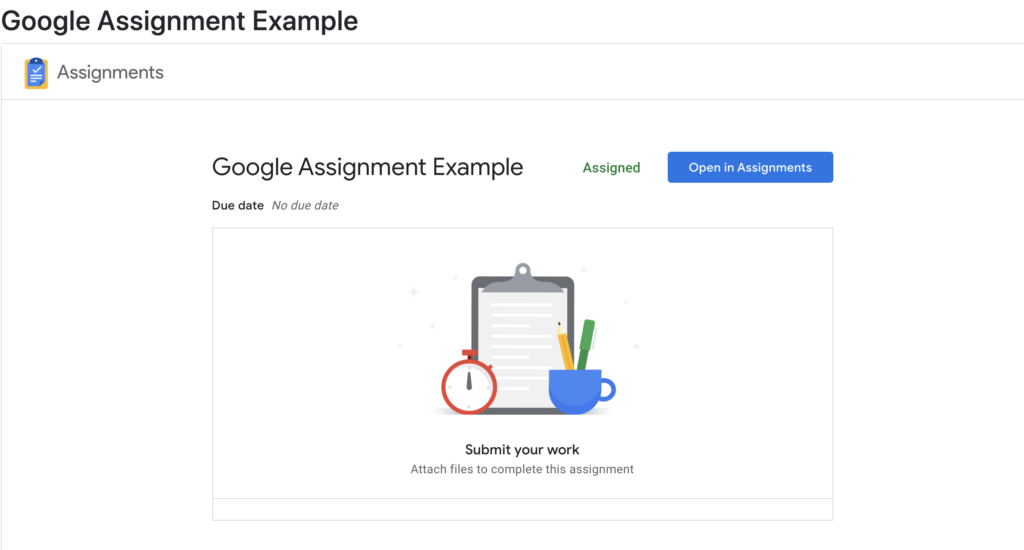 Student view of Google Assignment submission