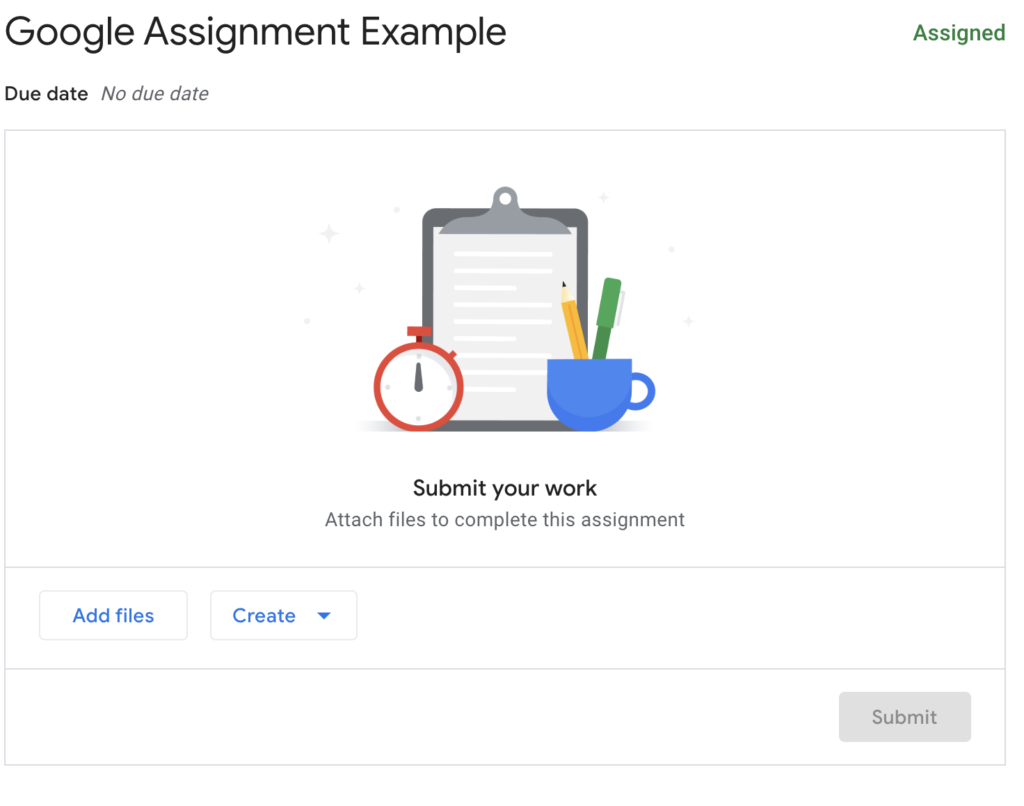 Student View of how to submit your work in Google Assignment