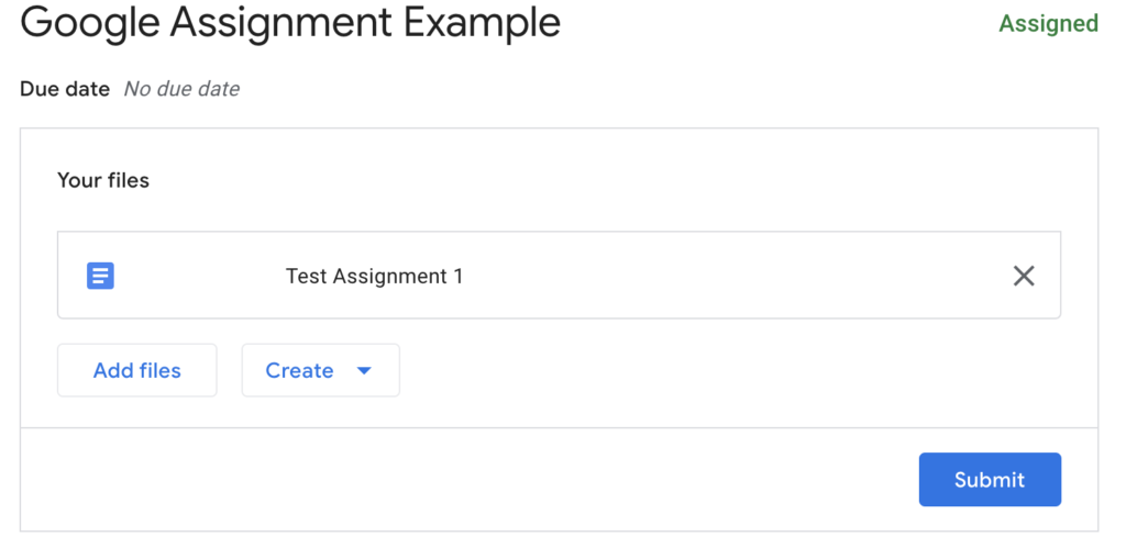 Student view of confirming selection of file to submit in Google Assignment
