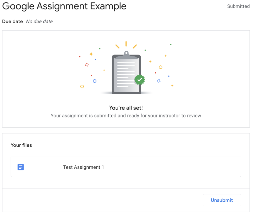 Student view of confirmation of successful Google Assignment submission