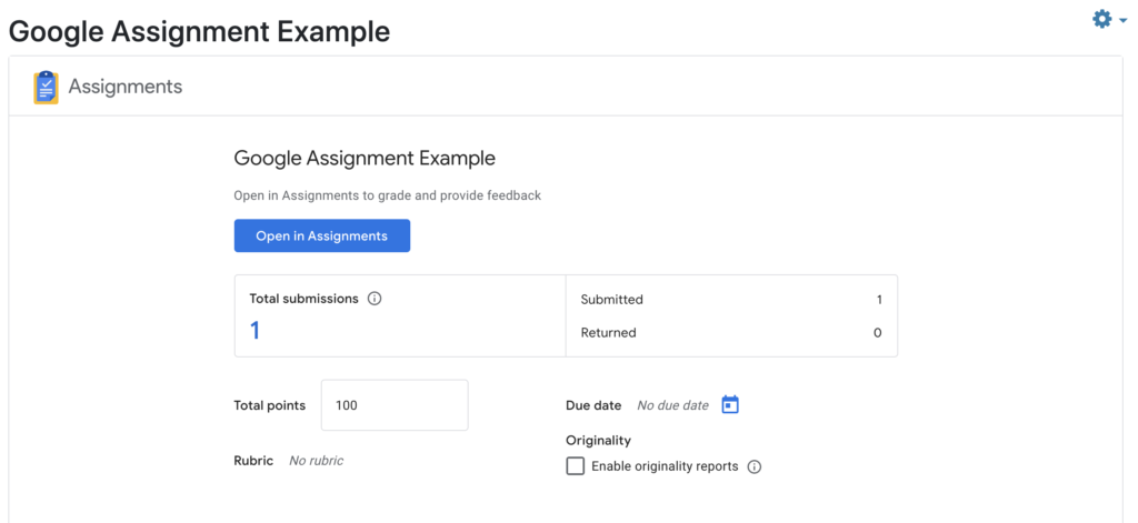 Viewing and grading Google Assignment Submissions