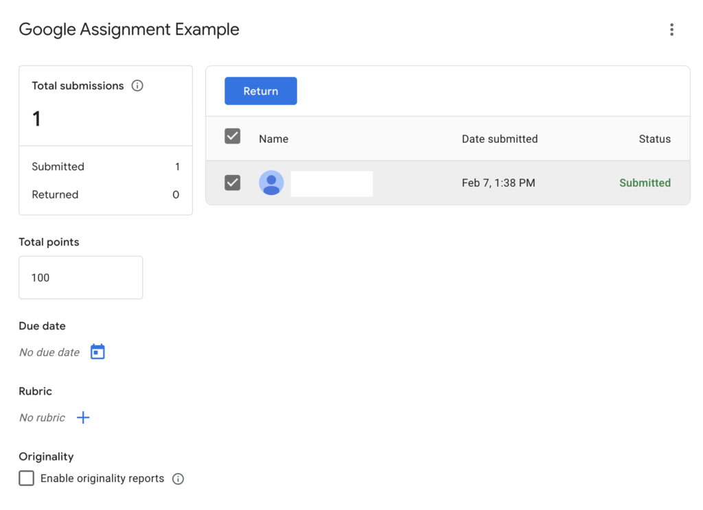 Choosing a student submission to grade in Google Assignment interface