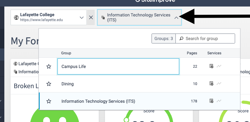 Navigate between multiple groups on Siteimprove with the Groups dropdown menu.