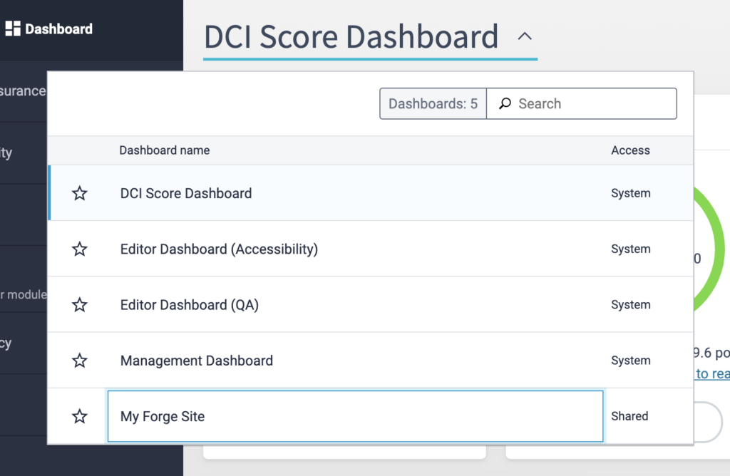 "Change the Dashboard view in Siteimprove by clicking DCI Score Dashboard and selecting ""My Forge Site"" from the list."