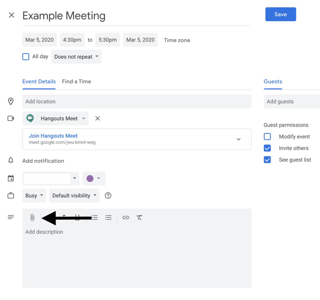 Attach files and Google Docs to a calendar event