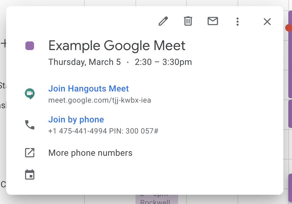 "Click ""Join Hangouts Meet"" from a calendar entry to join the meeting."