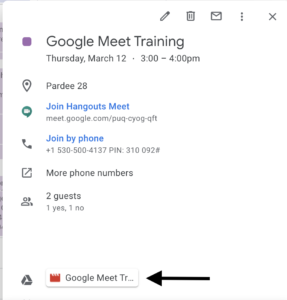 Google Meet recordings are linked to in the initial calendar invite in Google Calendar.