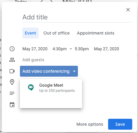 "Click ""Add video conferencing"" when creating a Calendar event to add Google Meet information."